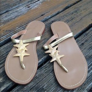 Lilly Pulitzer For Target Gold Starfish Sandals 9